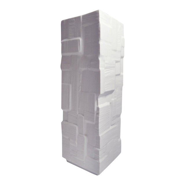 Heinrich Square White Bisque Vase with Geometric Block Design For Sale