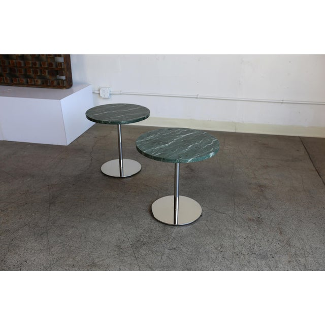 Green Marble & Stainless Steel Side Tables - a Pair For Sale - Image 8 of 9