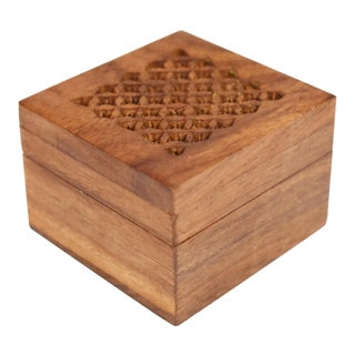 Vintage Hand Made Carved Wooden Ring Jewelry Box For Sale