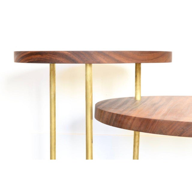 Benchmade by OZ|SHOP woodworkers in Scottsdale, Arizona. Three-tiered circular coffee table with two sections that swivel...