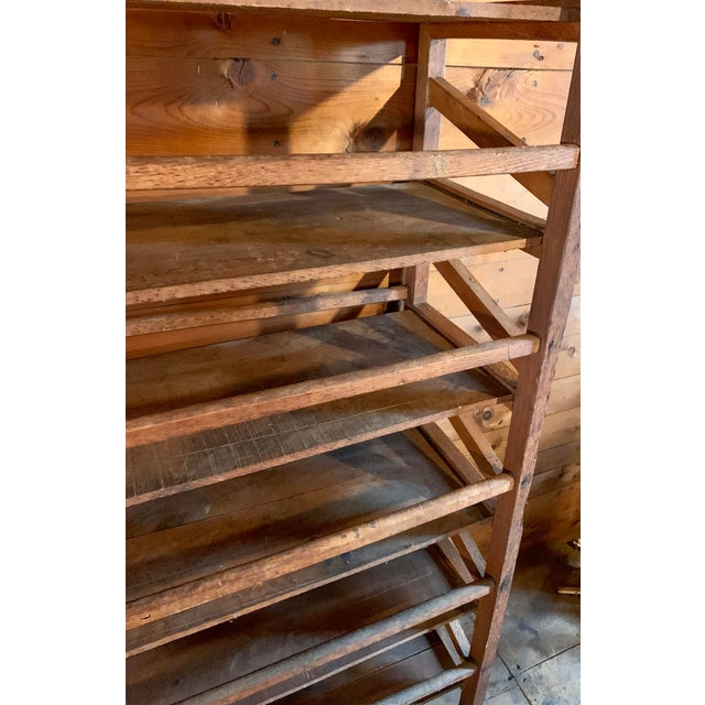 Brown Vintage Wood Bakery Bread Rack For Sale - Image 8 of 11