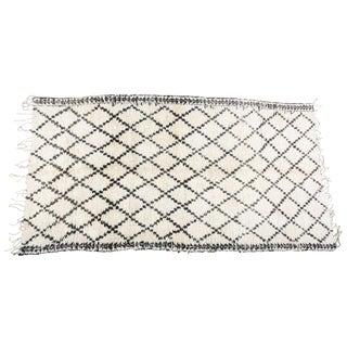 Vintage Moroccan White and Black Beni Ouarain Tribal Rug - 6′10″ × 12′6″ For Sale
