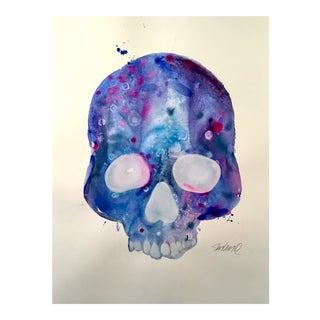 Blue Skull Original Watercolor Painting For Sale