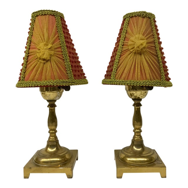 1940s Small Vintage Brass Table Lamps With Shades - a Pair For Sale