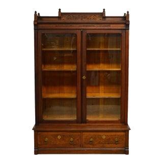 Antique 1800's Carved Walnut Victorian 2-Door Bookcase