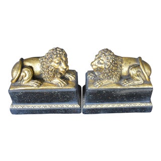 Golden Lion Bookends - A Pair