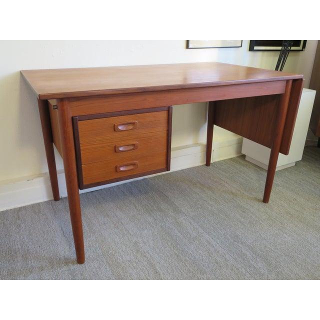 Arne Vodder Danish Modern Drop Leaf Desk in Teak - Image 2 of 9