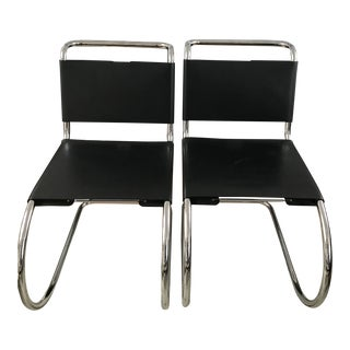 Mid-Century Mies Van Der Rohe Style Black Cantilever Corset Chairs - a Pair For Sale