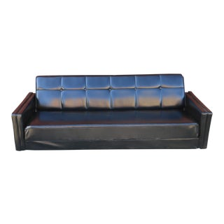 Mid-Century Modern Black Vinyl Sofa Bed