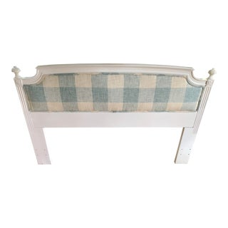 Modern Upholstered Blue & White Headboard For Sale