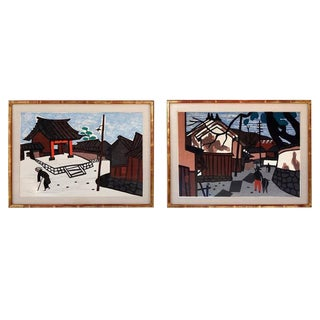1950s Vintage Kiyoshi Saito Wood Block Prints - A Pair For Sale