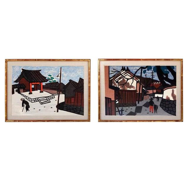 1950s Vintage Kiyoshi Saito Wood Block Prints - A Pair For Sale