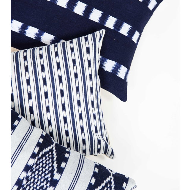 Guatemalan Striped Indigo Handwoven Pillow - Image 6 of 7