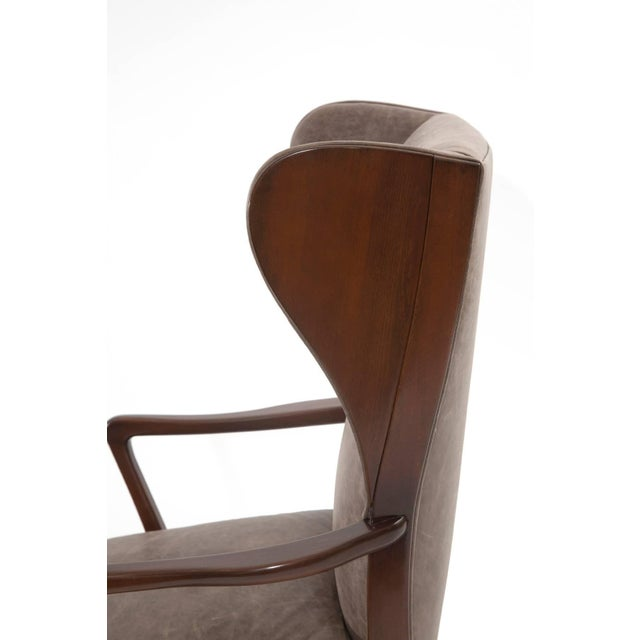 Mid-Century Modern 1950s Scandinavian Leather Wingback Chair For Sale - Image 3 of 7