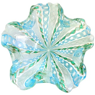 Fratelli Toso Murano Blue Green Snowflake Flower Ribbons Italian Art Glass Bowl For Sale