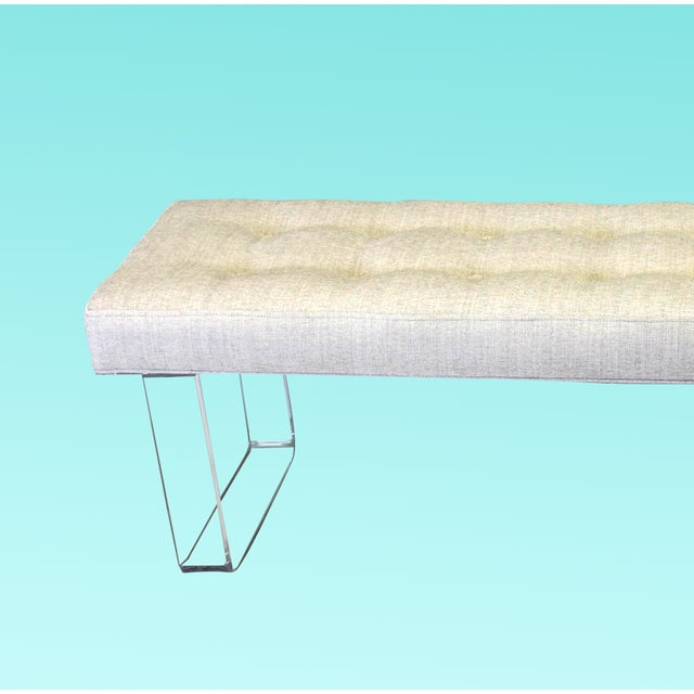 Exclusive infinity style Lucite Bench This bench is upholstered in a beautiful Beige Chenille textile and supported by the...