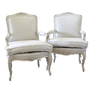Vintage Mid-Century Louis XVI Style Bergère Chairs - A Pair For Sale