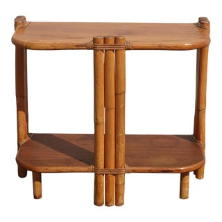 Vintage Tiki Palm Beach Bamboo Rattan Side Table Bookshelf ~ French Country For Sale