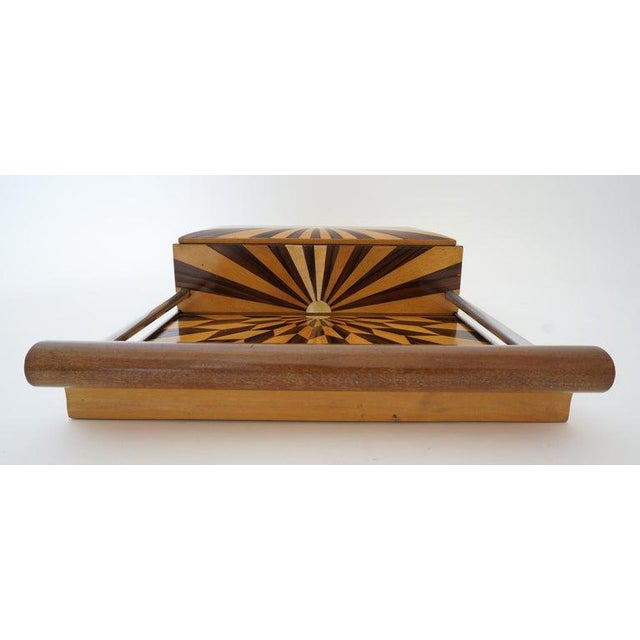 Art Deco 1920s Paul Giordano Paris Serving Tray Exotic Wood Parquet For Sale In West Palm - Image 6 of 12