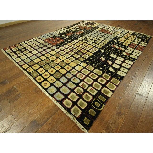 New Black Modern Wool & Silk Ikat Rug - 8'x10' - Image 4 of 10