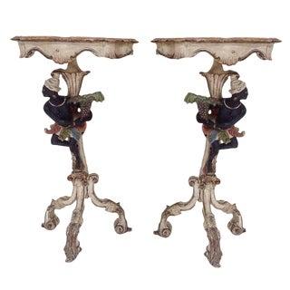 19th Century Venetian Blackamoor Side Tables- A Pair For Sale