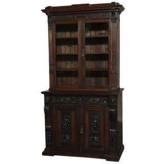 19th Century Renaissance Revival Bookcase With Angels~ Putti For Sale
