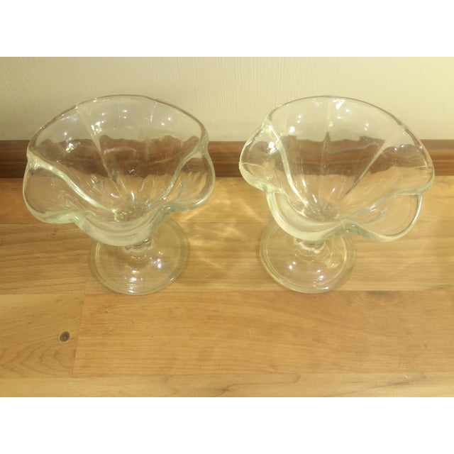 Kig Indonesia Glass Flower Shaped Footed Dessert Dishes - A Pair For Sale - Image 4 of 5