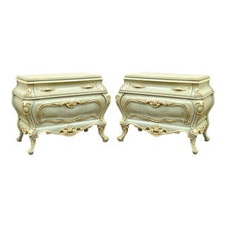 Pair of Blue Hollywood Regency French Bombe Commodes Chests Bedside End Tables
