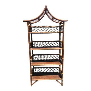 Asian Bookcase Pagoda Etagere With Four Shelves For Sale