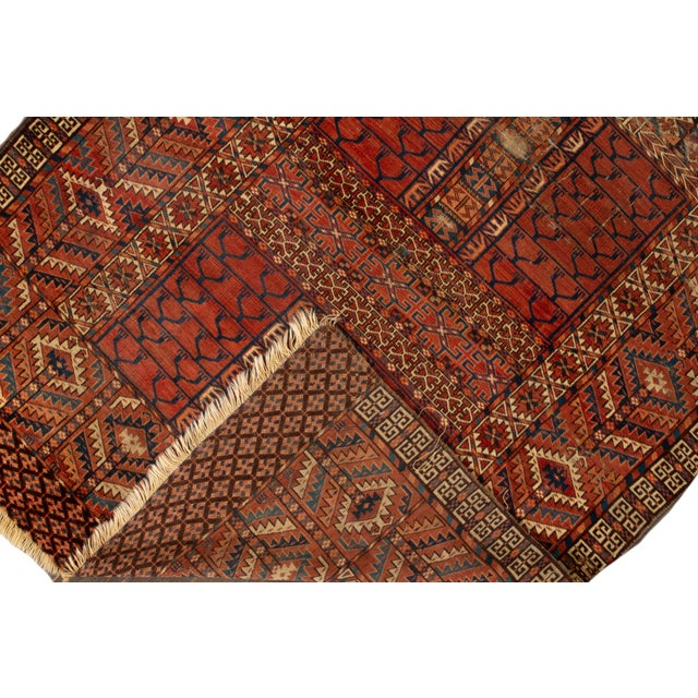 """Traditional Distressed Antique Turkaman Rug, 4'2"""" X 5' For Sale - Image 3 of 8"""