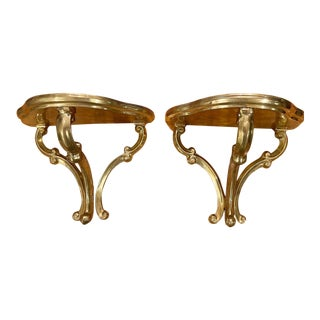Vintage Brass Bracket Shelves a Pair For Sale