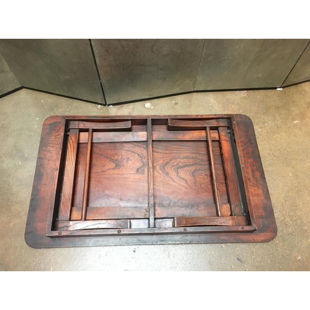 Early 20th Century Antique Japanese Keyaki Wood Folding Coffee Table, circa 1900 For Sale - Image 5 of 7