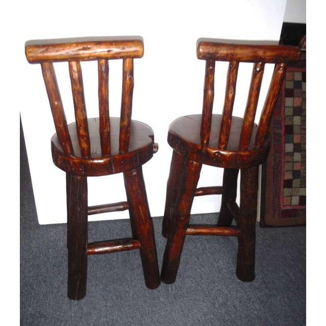 Pair of Rustic Log /Hickory Bar Stools w/ Pllank Seats For Sale - Image 10 of 10
