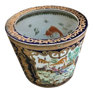 19th Century Chinese Cobalt Porcelain Fishbowl For Sale