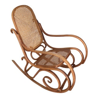 Vintage Thonet Style Bentwood Rocking Chair For Sale