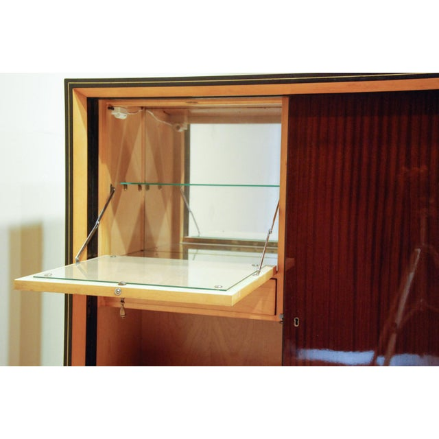 Circa 1950 Large German Exotic Wood and Glass Bar/Display Cabinet, Germany For Sale - Image 4 of 8