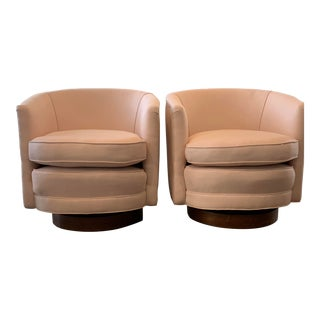 Vintage Mid Century Swivel Tub Chairs - A Pair For Sale