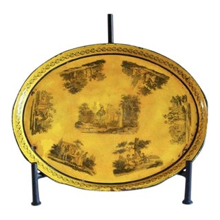Early 19th Century French Hand-Painted Yellow Tole Tray For Sale