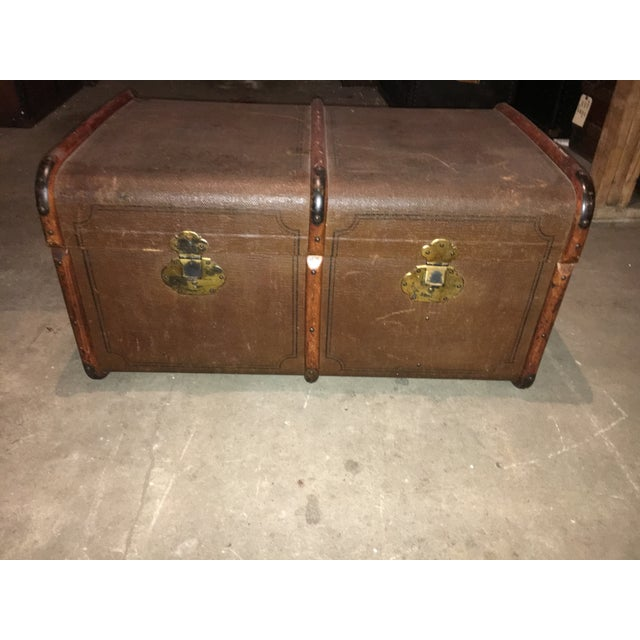 Antique Double Lock European Oak Banded Trunk - Image 2 of 11
