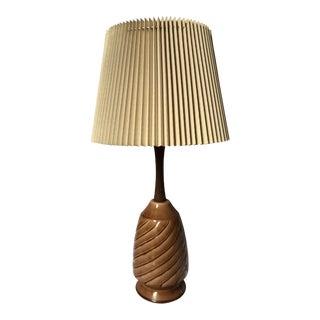 Vintage Ceramic & Wood Lamp For Sale