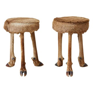 Rustic French Taxidermy Three-Leg Deer Stools - a Pair