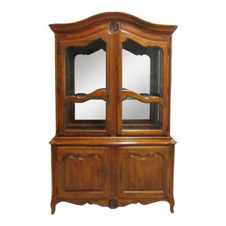 1990s Ethan Allen French Country Legacy China Cabinet Hutch For Sale