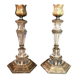 Austrian Rock Crystal Gilt Silver Candlesticks - a Pair For Sale