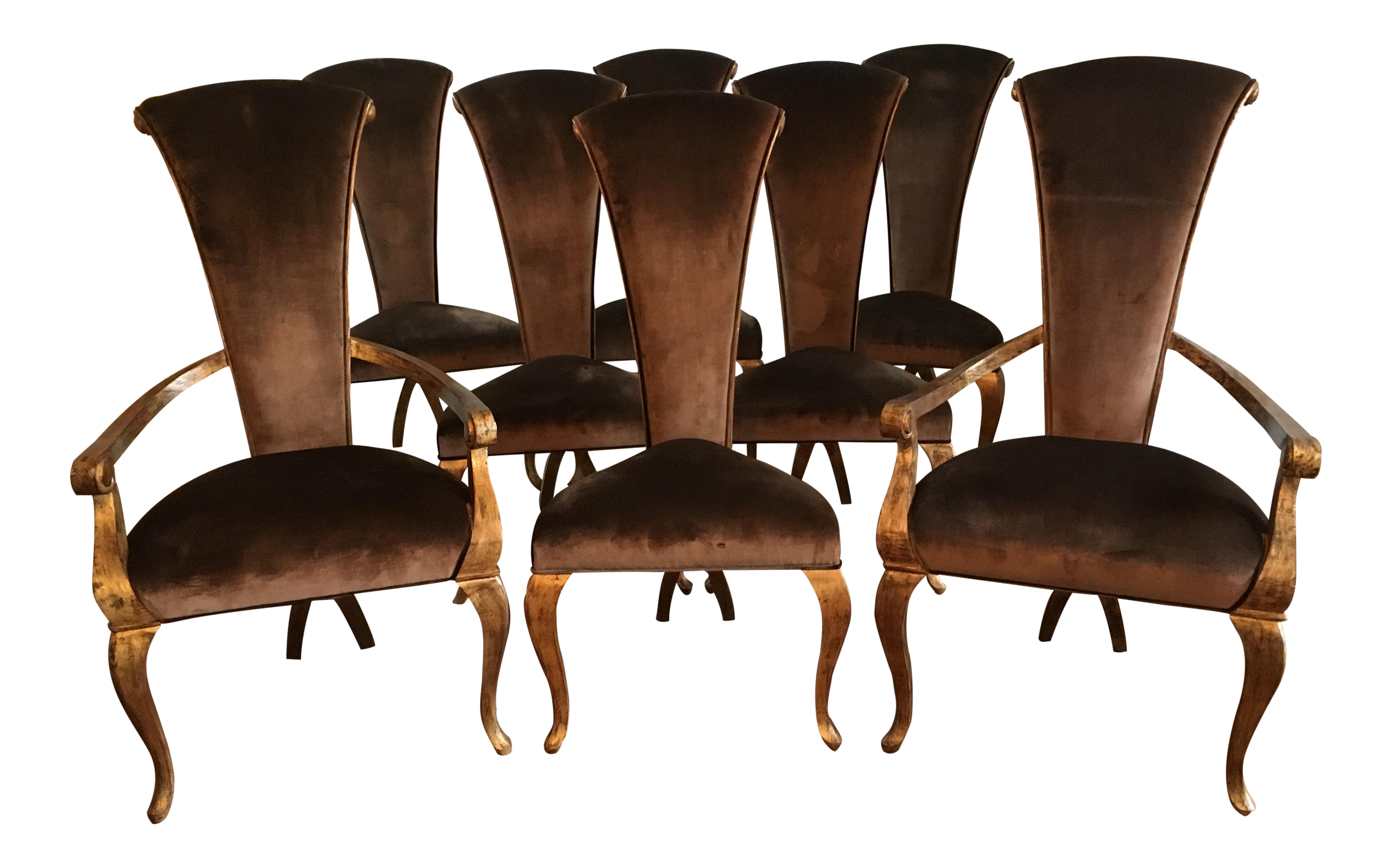 Christopher Guy Brown Velvet Dining Chairs   Set Of 8