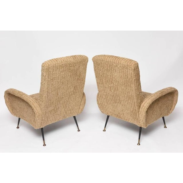 Mid-Century Italian Lounge Chairs with Original Metal and Brass Legs - Image 5 of 10