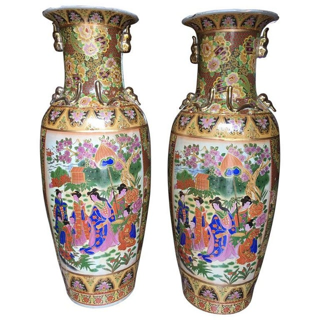 Tall Chinese Vases with Decorative Scenes, 20th Century - A Pair For Sale - Image 13 of 13