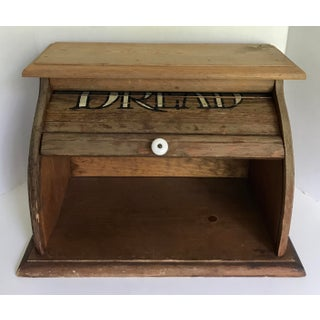 Antique Wooden Rolling-Top Bread Box Preview