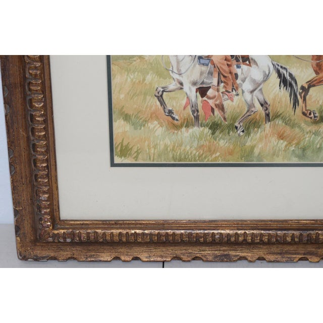 """J. Thomas Soltesz (American, B.1955) """"The Couriers"""" Original Watercolor For Sale - Image 4 of 9"""