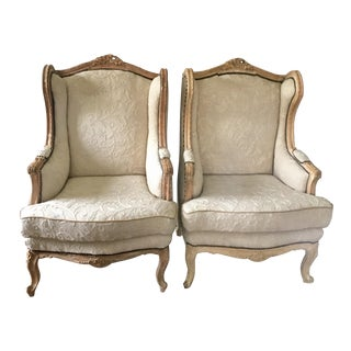 French Louis XVI Carved Wingback Chairs - a Pair