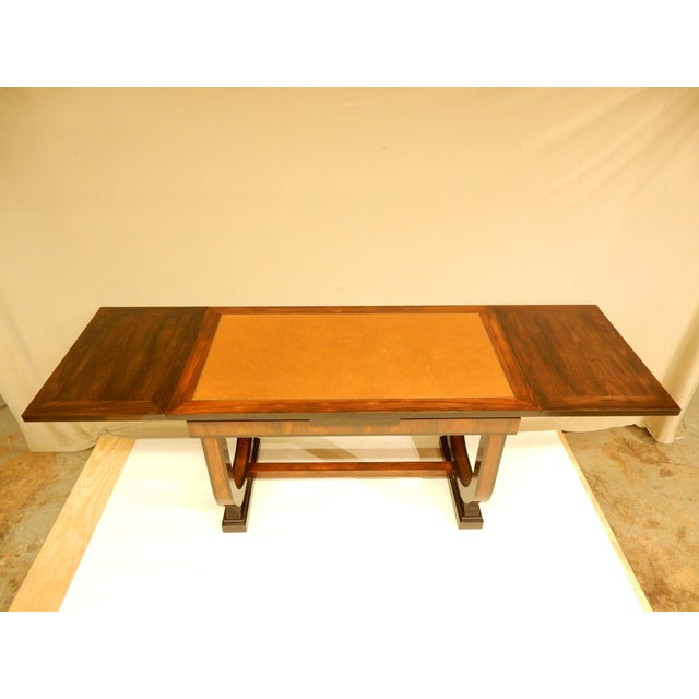 1930s Art Deco Leather Top Table With Extensions For Sale - Image 5 of 10